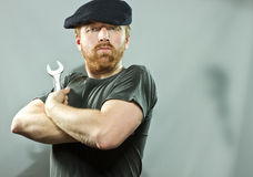 Plumber in hat with red beard Royalty Free Stock Image