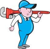 Plumber Holding Big Monkey Wrench Cartoon Royalty Free Stock Image