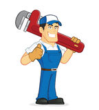 Plumber holding a huge pipe wrench. Clipart picture of a plumber cartoon character holding a huge pipe wrench Stock Image