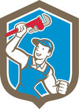 Plumber Holding Monkey Wrench Shield Cartoon Royalty Free Stock Photo
