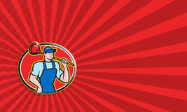 Plumber Holding Plunger Cartoon Royalty Free Stock Image