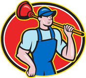 Plumber Holding Plunger Cartoon Stock Images