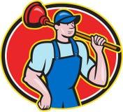 Plumber Holding Plunger Cartoon. Illustration of a plumber holding plunger set inside oval done in cartoon style on isolated background Stock Images