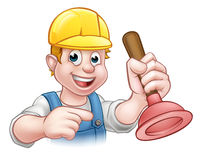 Plumber Holding Plunger with Hard Hat Stock Photos