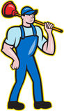 Plumber Holding Plunger Standing Cartoon. Illustration of a plumber holding plunger standing facing front done in cartoon style on isolated background Royalty Free Stock Images