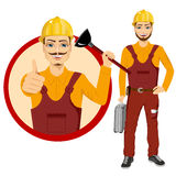Plumber holding plunger in uniform holding tool box. Happy smiling plumber holding plunger in uniform holding tool box and showing thumbs up Royalty Free Stock Photography