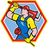 Plumber Holding Plunger Wrench Cartoon. Illustration of a plumber holding carrying monkey wrench on shoulder and holding plunger done in cartoon style on Stock Photos