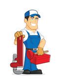 Plumber holding tools. Clipart picture of a plumber cartoon character holding tools Royalty Free Stock Photos