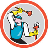 Plumber Holding Wrench Plunger Cartoon. Illustration of a plumber holding monkey wrench and plunger set inside circle done in cartoon style on isolated white Royalty Free Stock Photo