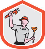 Plumber Holding Wrench Plunger Cartoon. Illustration of a plumber holding monkey wrench and plunger set inside shield crest done in cartoon style on isolated Royalty Free Stock Photos