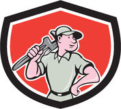 Plumber Holding Wrench Shield Cartoon Royalty Free Stock Photo