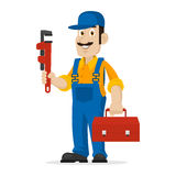 Plumber holds an adjustable spanner and suitcase Stock Image