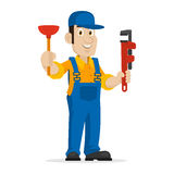 Plumber holds plunger and adjustable spanner Royalty Free Stock Images
