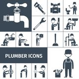 Plumber Icons Black Stock Images