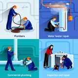 Plumber icons set Royalty Free Stock Images