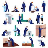 Plumber icons set. Plumber flat icons set with repair professional fixing water pipes isolated vector illustration Royalty Free Stock Photography