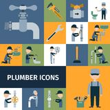 Plumber Icons Set Royalty Free Stock Photos