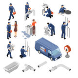 Plumber Isometric Icons Set. With tools and equipment symbols isolated vector illustration Stock Photo