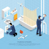 Plumber Isometric Illustration. Plumber with bath sink and pipes repair symbols isometric vector illustration Royalty Free Stock Image