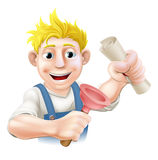 Plumber or janitor with certificate. Qualification or other scroll and plunger. Education concept for being professionally qualified or certificated Stock Photos