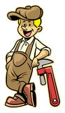 Plumber lean over the plumb wrench. Vector of plumber lean over the plumb wrench Stock Photography