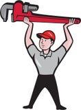 Plumber Lifting Monkey Wrench Cartoon Stock Image