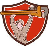 Plumber Lifting Monkey Wrench Crest Cartoon Royalty Free Stock Images