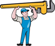 Plumber Lifting Monkey Wrench Isolated Cartoon Stock Image