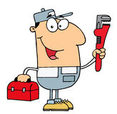 Plumber man. Friendly caucasian plumber man carrying a wrench and tool box Royalty Free Stock Image