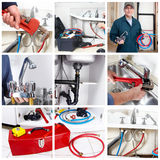 Plumber. Plumber man with tools in the kitchen. Plumbing and renovation royalty free stock images