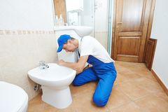 Plumber man worker Royalty Free Stock Image