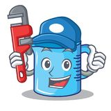 Plumber measuring cup character cartoon Royalty Free Stock Image