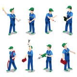 Plumber mechanic car repair service flat 3d isometric vector Royalty Free Stock Image