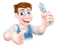 Plumber or mechanic cartoon Royalty Free Stock Images