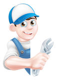 Plumber Mechanic Cartoon Man Royalty Free Stock Image