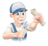 Plumber or mechanic qualification. Plumber or mechanic with certificate, qualification or other scroll and wrench. Education concept for being professionally Royalty Free Stock Image