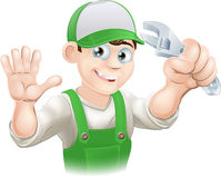 Plumber or mechanic with spanner Stock Photo
