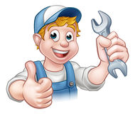 Plumber or Mechanic with Spanner Royalty Free Stock Photos
