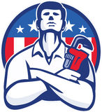 Plumber With Monkey Wrench American Flag retro Stock Image