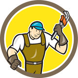 Plumber Monkey Wrench Circle Cartoon Royalty Free Stock Images