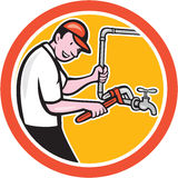 Plumber Monkey Wrench Pipe Circle Cartoon Stock Images