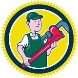 Plumber Monkey Wrench Rosette Cartoon Royalty Free Stock Photo