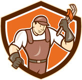 Plumber Monkey Wrench Shield Cartoon Stock Image