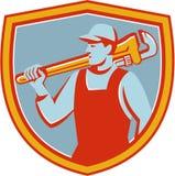 Plumber Monkey Wrench Shoulder Shield Retro Stock Image