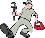 Plumber monkey wrench toolbox Royalty Free Stock Photos