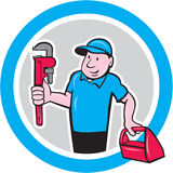 Plumber With Monkey Wrench Toolbox Cartoon Stock Photo