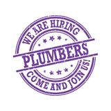 We are hiring - plumbers needed - come and join us! Printable stamp Stock Photos
