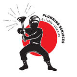 Plumber ninja holding a plunger. Plumbing services Stock Image
