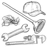 Plumber objects sketch Royalty Free Stock Images