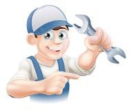 Free Plumber Or Mechanic Pointing Royalty Free Stock Image - 30504636